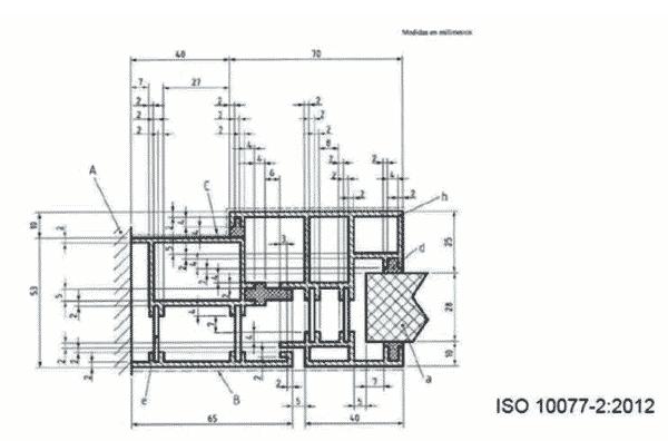 Sección marco aluminio rotura térmica